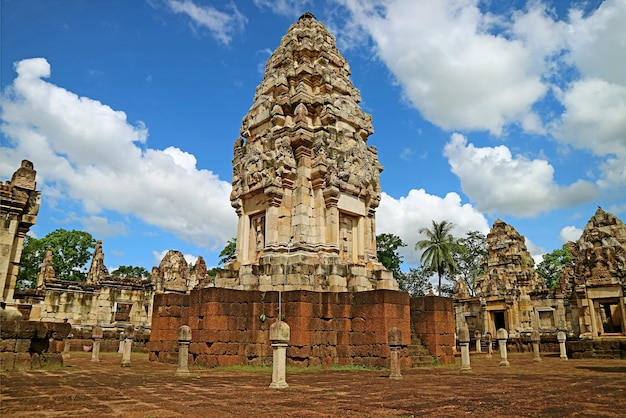 Gorgeous main tower ruins of sdok kok thom ancient khmer temple, thailand