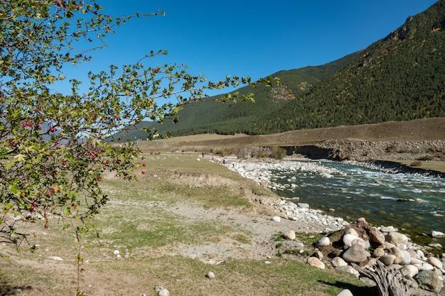 Górska rzeka między stromymi klifami