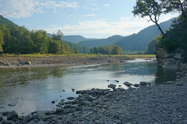Górska rzeka rano w lecie