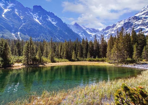 Górskie jezioro na tle wysokich gór