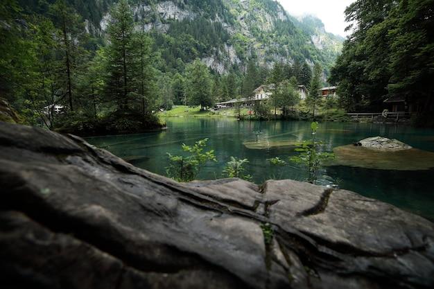 Górskie jezioro, wokół dużo zielonych drzew. na pierwszym planie jest duży kamień