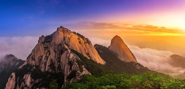 Góry bukhansan pokryte są poranną mgłą i wschodem słońca w seulu, w korei. (ciemny ton)