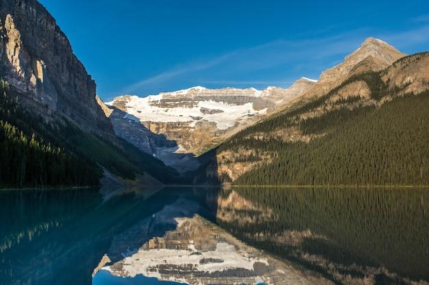 Góry i lodowiec odbijające się w jeziorze louise alberta w kanadzie