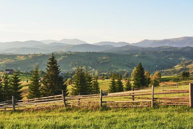 Góry karpaty. zdjęcie zostało zrobione wysoko w karpatach. piękne niebo i jasnozielona trawa oddają atmosferę karpat. w karpatach bardzo piękna sceneria
