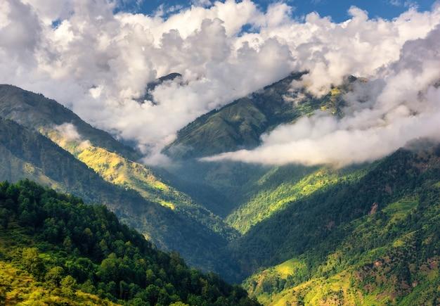 Góry w niskich chmurach w słoneczny dzień w lecie. nepal. widok na górskie wzgórza z zielonymi drzewami. piękny krajobraz. widok z góry na góry himalajów z lasem. natura. lasy na wiosnę