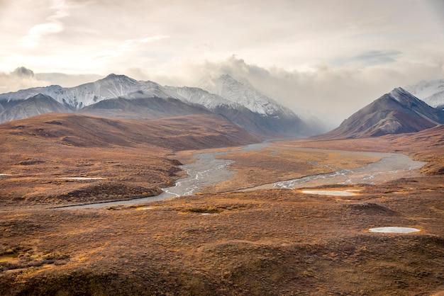 Góry z góry śniegu krajobraz w denali national park, alaska