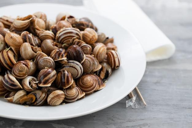 Gotowane ślimaki na białym talerzu na ceramice