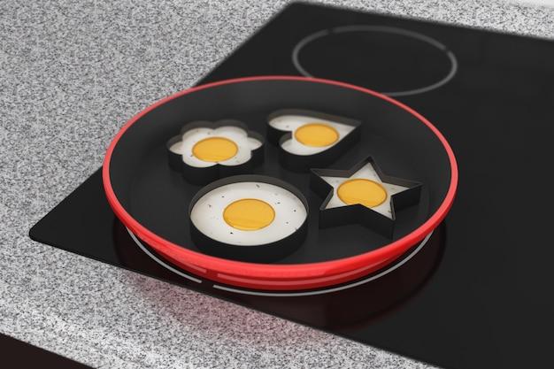 Gotowanie jajek na kuchence indukcyjnej ekstremalne zbliżenie