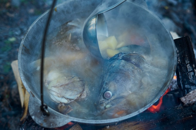 Gotowanie zupy rybnej w schowanym meloniku nad ogniskiem.