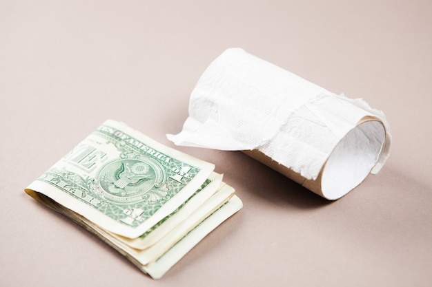 Gotowy papier toaletowy i pieniądze
