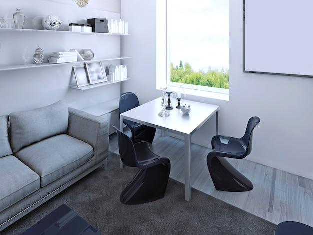 Gotycki stół jadalny z granatowymi krzesłami w salonie. białe ściany, jasne podłogi laminowane. renderowania 3d