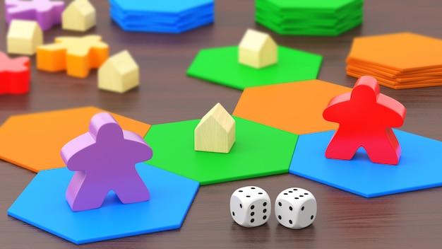 Gra planszowa, dwie figury i kości. renderowanie 3d.