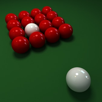 Gra w snookera z białymi i czerwonymi kulkami