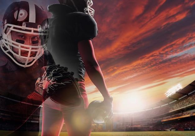 Gracz futbolu amerykańskiego gotowy do rozpoczęcia gry na stadionie. podwójna ekspozycja. młody człowiek czeka na sport o zachodzie słońca.