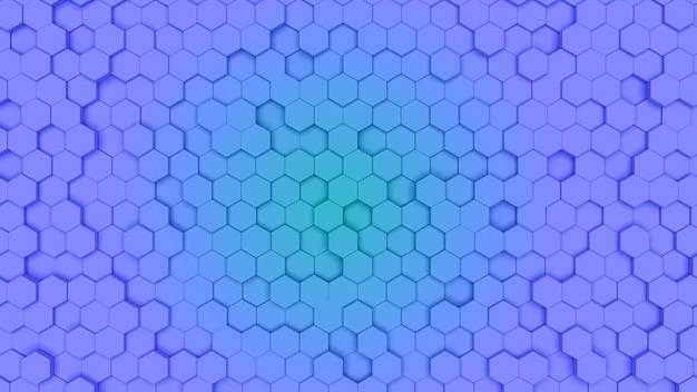 Gradien niebieska i cyjan sześciokątna komórka, faktura grzebienia. światło w tle