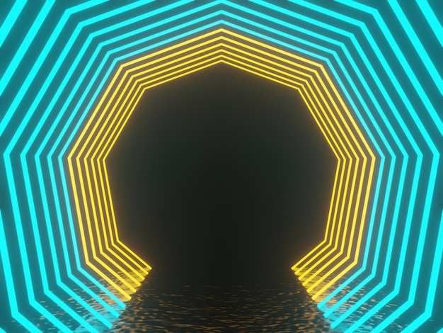 Gradientowe świecące neonowe ramki. renderowanie 3d.