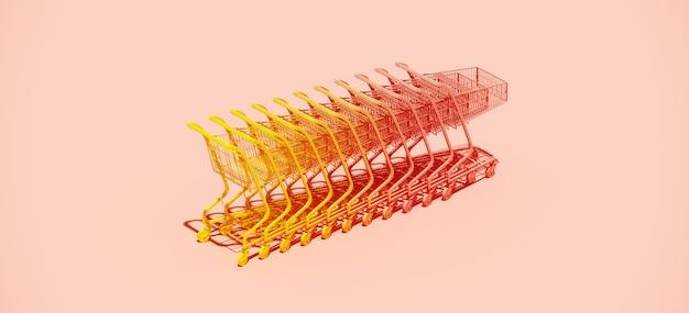 Gradientowy żółty i różowy wózek na zakupy wózek na różowym tle