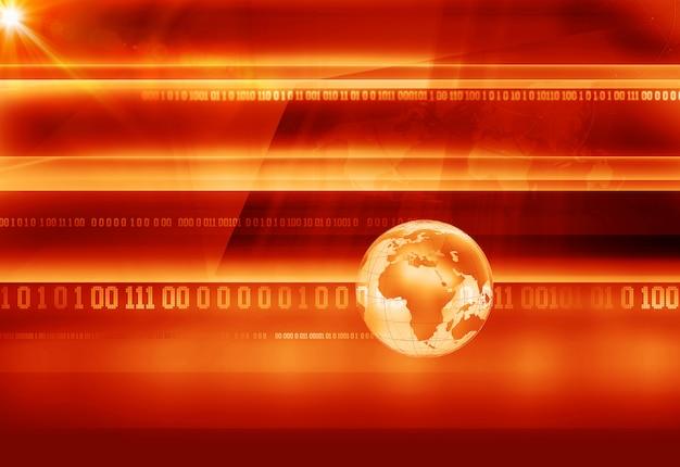 Graficzne tło wiadomości z kodami binarnymi i kulą ziemską