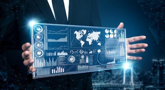 Graficzny interfejs przedstawiający przyszłą technologię komputerową do analizy zysków, badania marketingowe online i raport informacyjny dla cyfrowej strategii biznesowej.