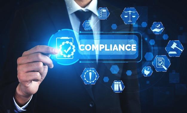Graficzny interfejs przepisów i regulacji dotyczących zgodności z polityką jakości biznesu