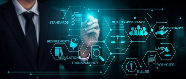 Graficzny interfejs zasad zgodności z przepisami i regulacjami dla polityki jakości biznesowej