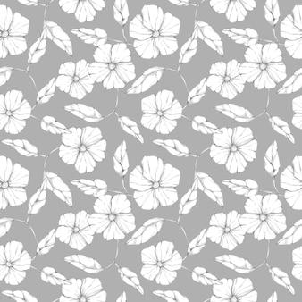 Graficzny kwiaty i liście wzór na szarym tle. ręcznie rysowane monochromatyczne czarno-białe vintage botaniczny nadruk. element kwiatowy wzór, ozdoba, tło.
