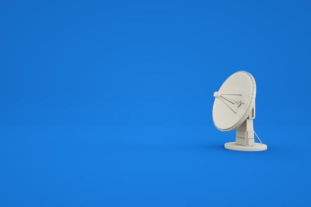 Graficzny model 3d anteny telewizyjnej na niebieskim tle na białym tle