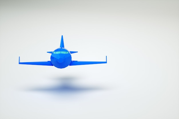 Graficzny model 3d błękitnego samolotu w powietrzu. samolot na białym tle. grafika komputerowa. na białym tle niebieski samolot na białym tle