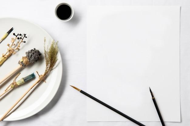 Grafika chińskiego atramentu z widokiem z góry