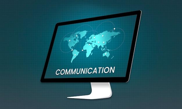 Grafika globalnej komunikacji połączonej ze społecznością internetową na komputerze