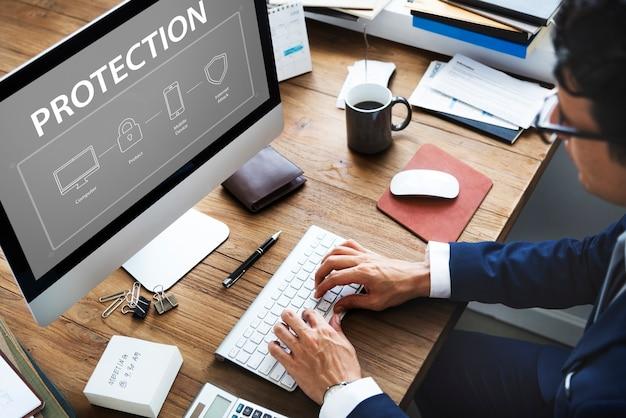 Grafika ochrony danych systemu bezpieczeństwa komputerowego