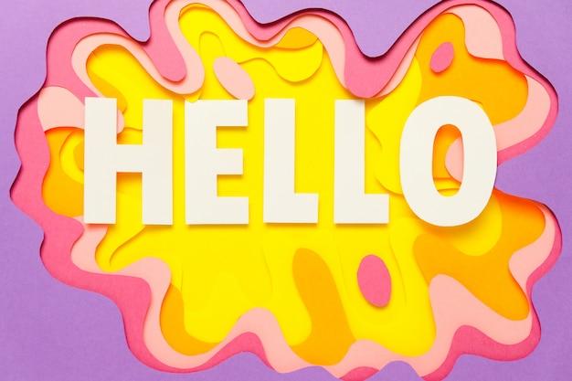 Grafika papierowa, amorficzny kształt w różnych kolorach.