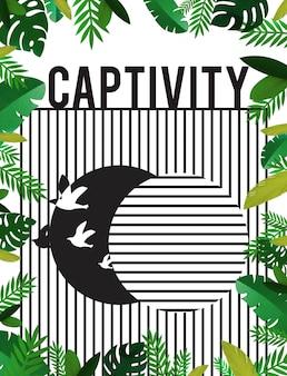 Grafika przedstawiająca ptaka uwolnionego z niewoli do wolności