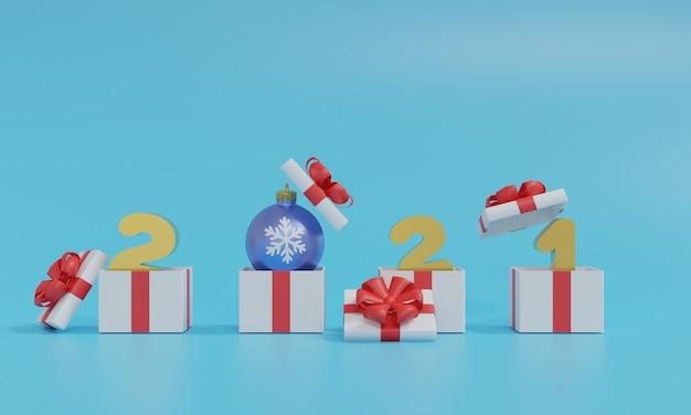 Grafika trójwymiarowa 2021 szczęśliwego nowego roku. realistyczne pudełko na prezent złoty metalowy numer na niebiesko