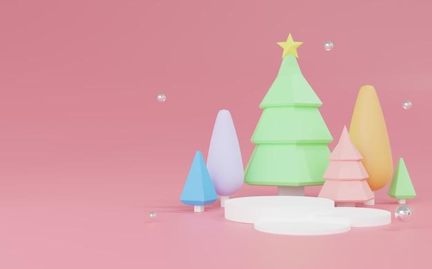 Grafika trójwymiarowa abstrakcyjna sceny bożego narodzenia z podium