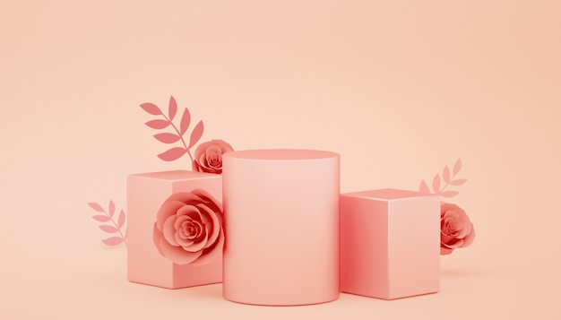 Grafika trójwymiarowa abstrakcyjnych geometrycznych z dekoracjami kwiatowymi na wystawie produktu
