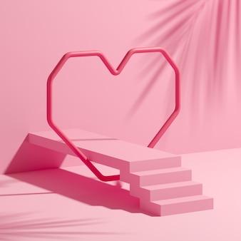 Grafika trójwymiarowa abstrakcyjnych kompozycji do prezentacji produktu z różowym sercem