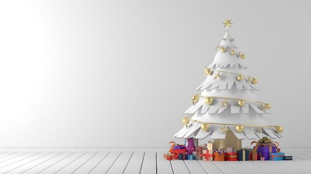 Grafika trójwymiarowa białej choinki z prezentami