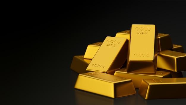 Grafika trójwymiarowa błyszczące sztabki złota ułożone na czarnym tle z miejsca na kopię, 3 ilustracji