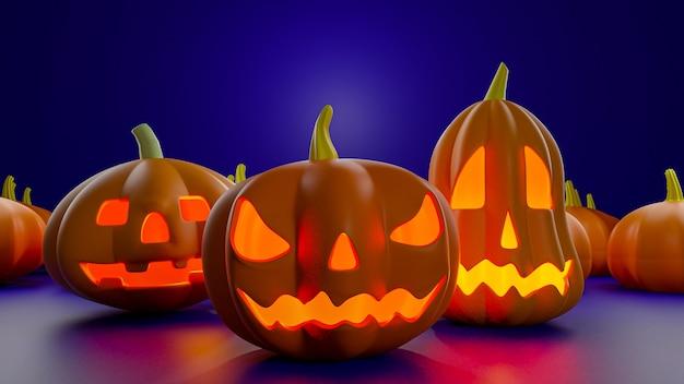 Grafika trójwymiarowa dyni halloween latern.