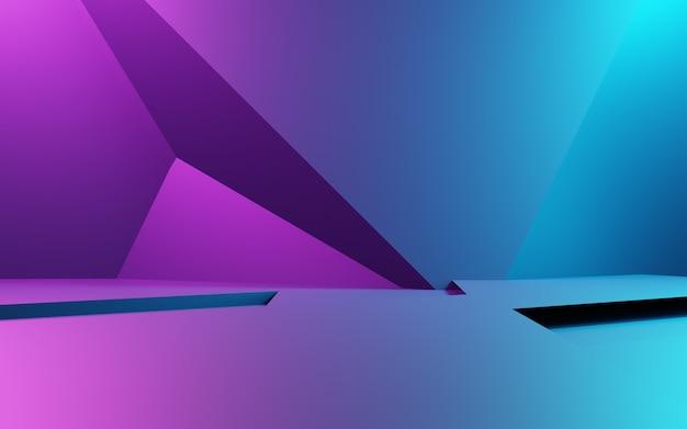 Grafika trójwymiarowa fioletowego i niebieskiego abstrakcyjnego tła geometrycznego. koncepcja cyberpunk