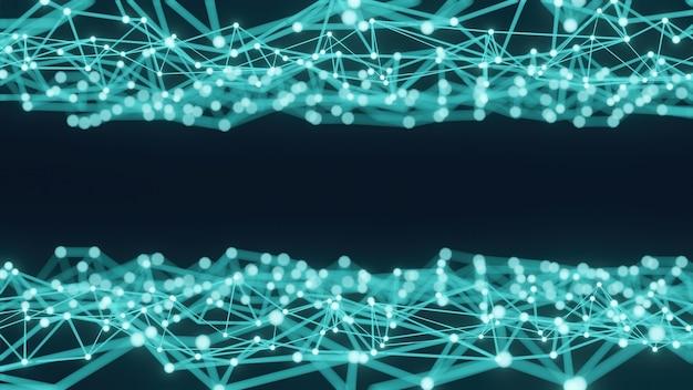 Grafika trójwymiarowa koncepcja abstrakcyjnej nauki w odcieniach niebieskiego z wieloma liniami i kropkami.