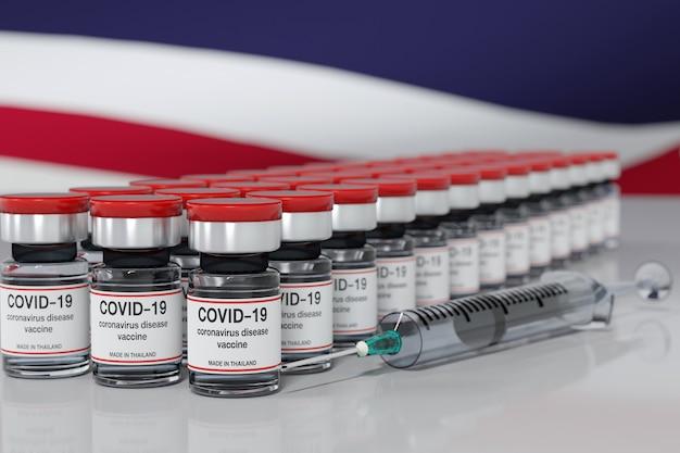 Grafika trójwymiarowa koncepcja szczepionki koronawirusowej wykonanej w tajlandii z fiolki szczepionki i strzykawki z tłem flagi tajlandii.