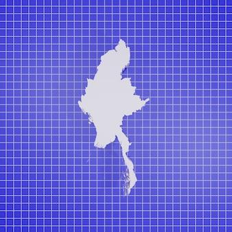 Grafika trójwymiarowa mapa myanmar