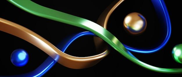 Grafika trójwymiarowa niebieskiej zieleni i złota abstrakcyjna architektury. nowoczesna geometria. futurystyczny projekt technologii.