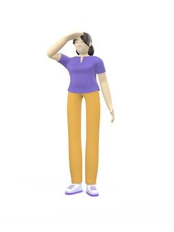Grafika trójwymiarowa postać azjatyckie dziewczyny dłoń w oko, patrząc w dal. pojęcie planowania, kapitanie, perspektywy, nadziei