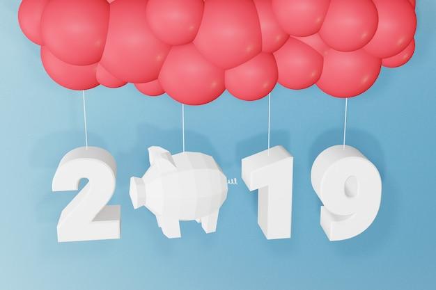 Grafika trójwymiarowa projekt, papierowy styl szczęśliwy nowy rok 2019, teksta projekt z balonami.