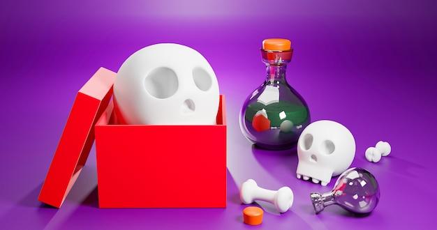 Grafika trójwymiarowa pudełko na prezent halloween z czaszką i kością do świętowania wakacji.