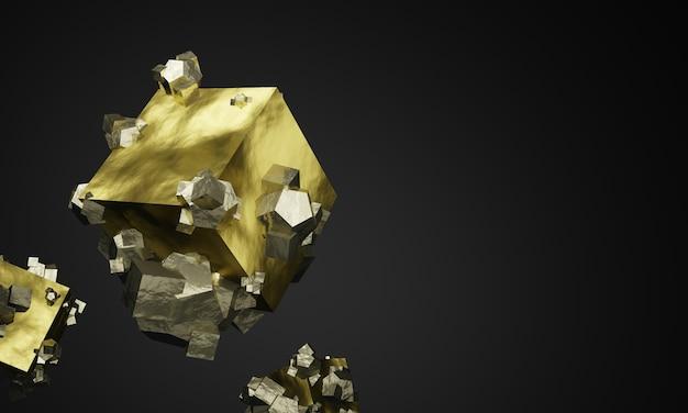 Grafika trójwymiarowa skały pirytowe