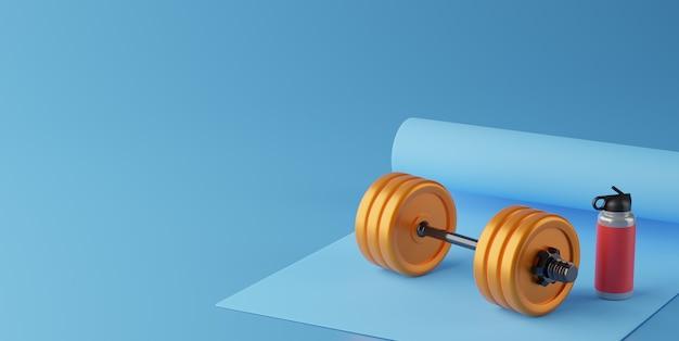 Grafika trójwymiarowa sprzęt fitness na kolor tła.